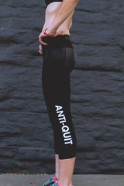 """Black"" Anti-Quit PowerRun Capri Leggings (Womens)"