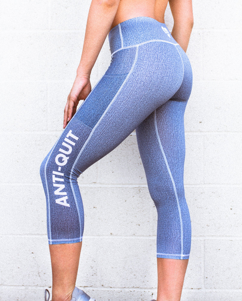 """Denim"" Anti-Quit PowerRun Capri Leggings"