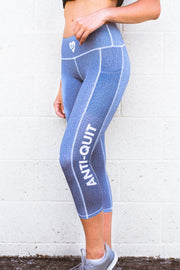 """Denim"" Anti-Quit PowerRun Capri Leggings (Womens)"