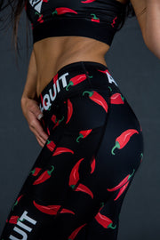"""Peppers"" Anti-Quit PowerRun Capri Leggings (Womens)"
