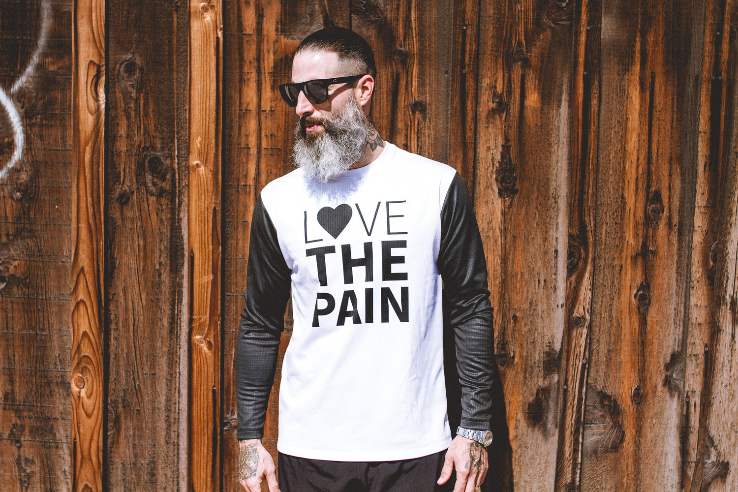 """Love The Pain"" Performance Run Shirt Long Sleeve White"