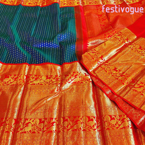 Aegean Blue and Red Bird Border Kanchipattu Saree