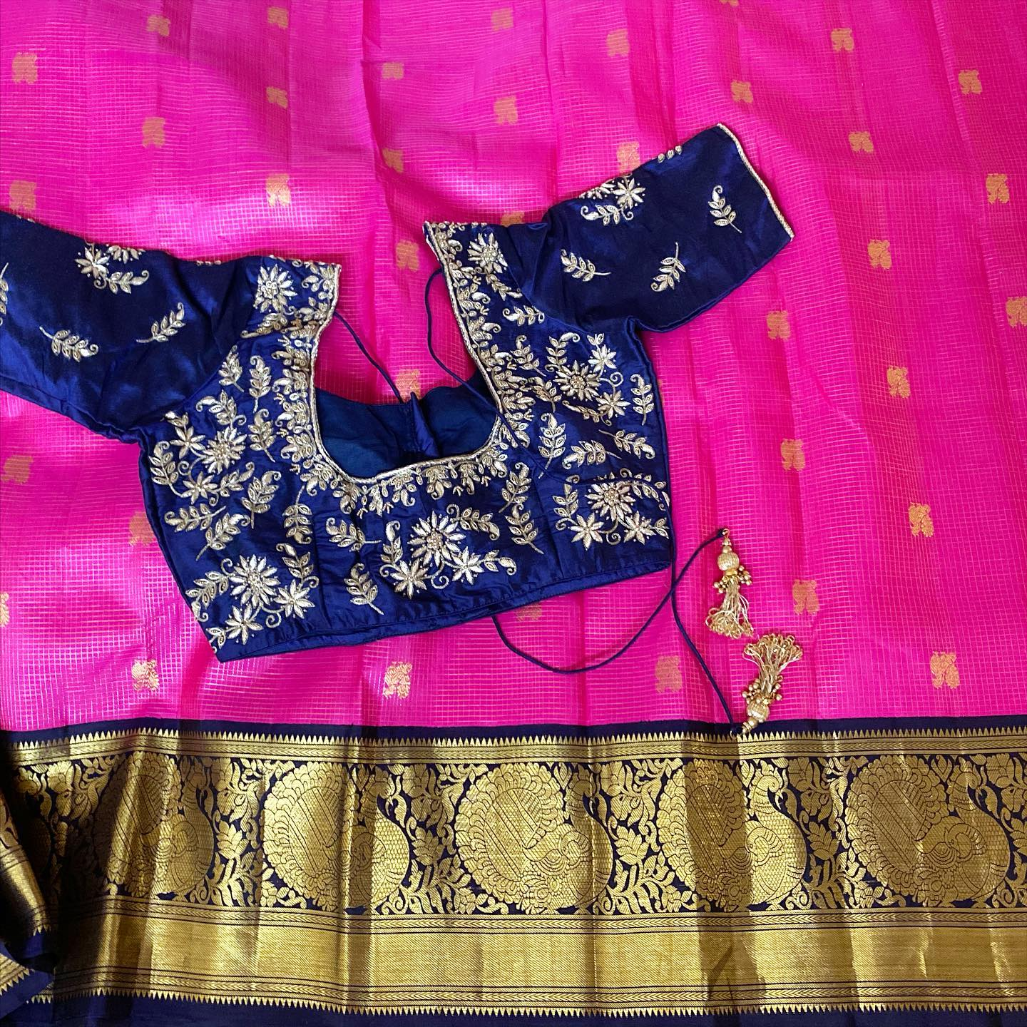 Hot Pink and Navy Blue Checks with Butta Kanchipuram Saree
