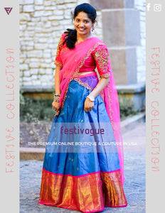 Blue and Fuscia Checks Kanchipattu Lehenga