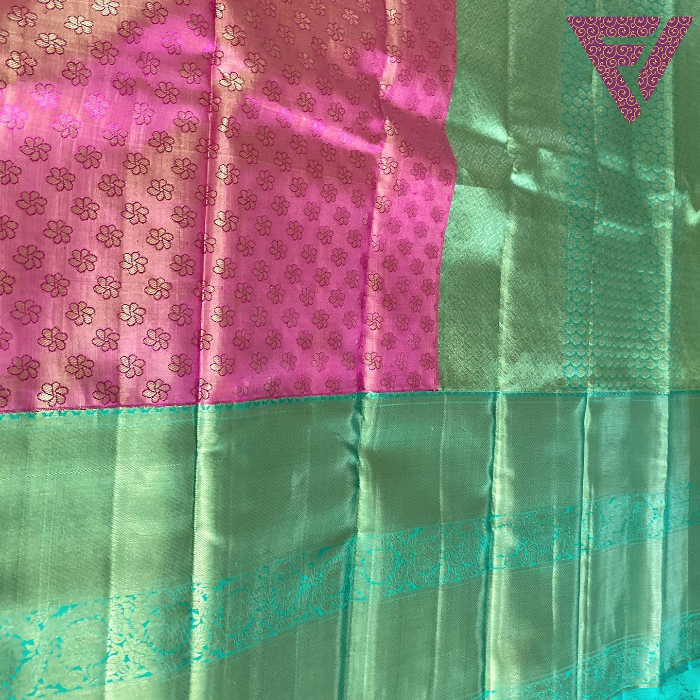 Pink and Teal KanchiPattu Saree
