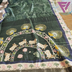 Hunter Green Handloom Tussar Benaras Saree