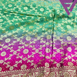 Mint and Fuscia Benaras Georgette Saree