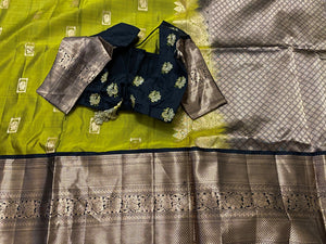 Kelly Green and Black Kanchipattu Saree