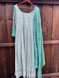 Teal Green Lucknowi Dress