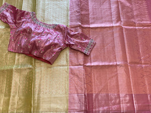 Lime green and Pink Borderless Kanchi Tissue Saree