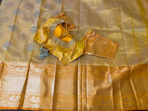 Butter Yellow Kuppadam Tissue Silk Saree
