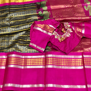 Grey and Fuscia Checks Pattern Kuppadam Tissue Silk Saree