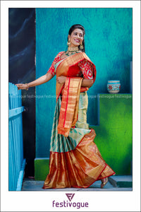 Teal and Red Stripes Patterned Kanchipattu Saree