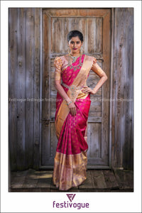 Pink and Peach Wavy Patterned Kanchipattu Saree