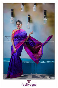 Purple and Magenta Thread Munia Paithani Silk Saree