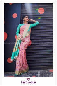 Peach and Teal Lotus Motif Benarasi Tussar Silk Saree