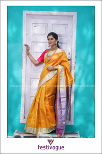 Canary Yellow Butta Kanchi Tissue Saree