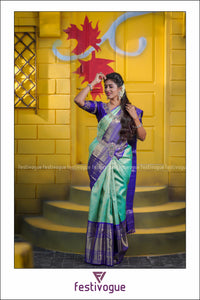 Teal and Violet Floral Kanchipattu Saree