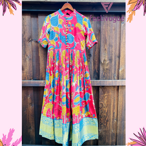 Punch Pink and Blue Kanchi Kalamkari Dress