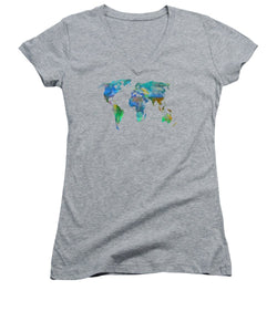 Blue World Transparent Map - Women's V-Neck T-Shirt
