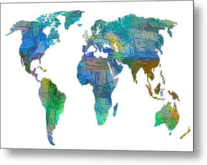 Blue World Transparent Map - Metal Print