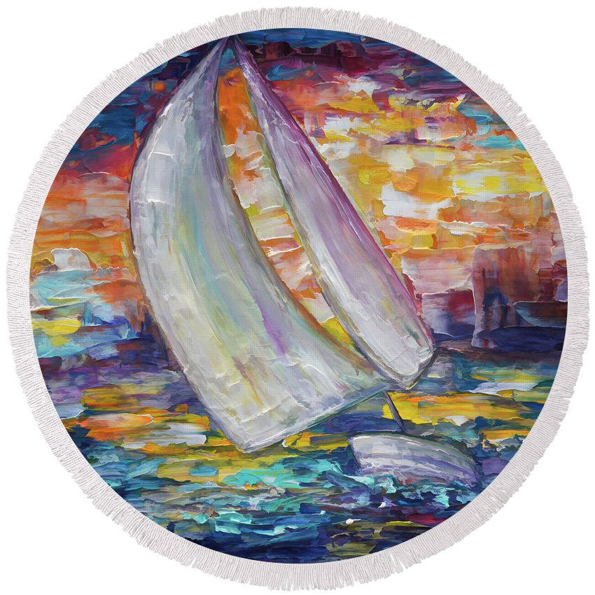 Sailing Boat - Round Beach Towel