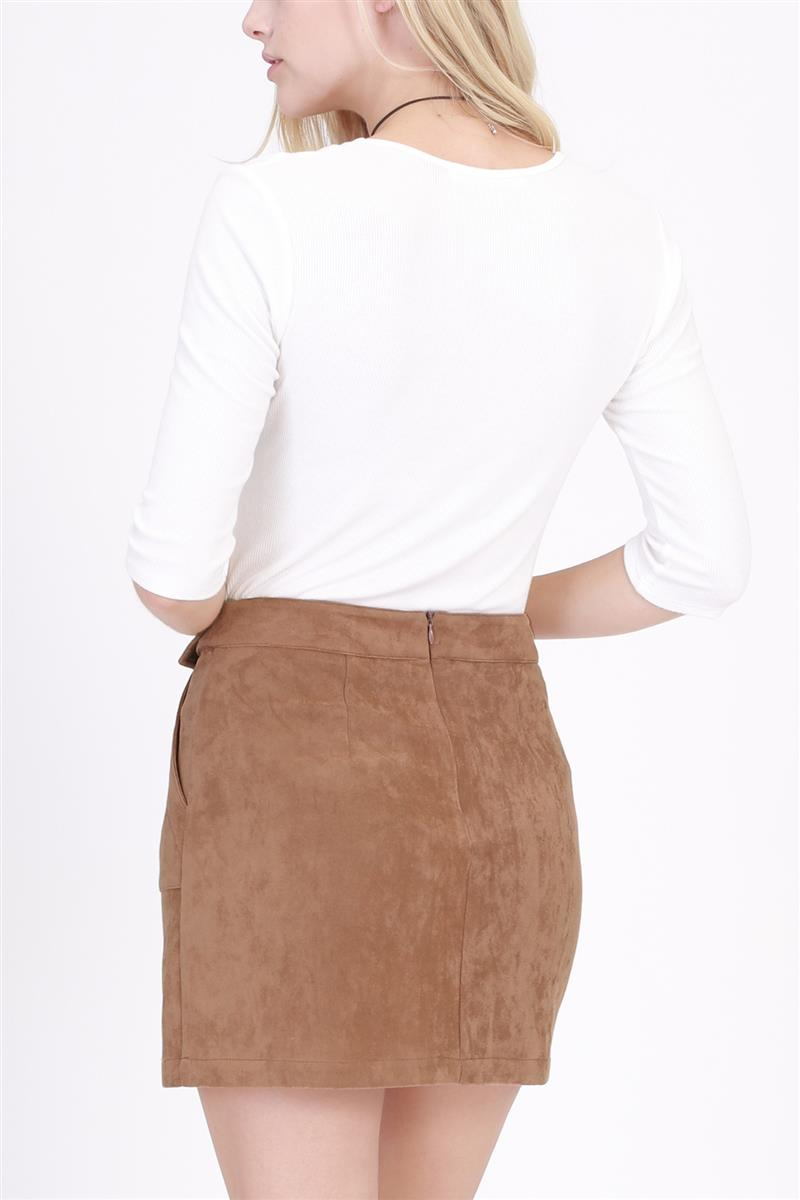 Faux Suede Front Pocket Skirt With Belt In Camel