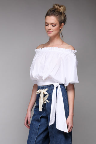 fa57e49b0b7ce8 Off The Shoulder Crop Top.  20.00. V-Line frill trim blouse in White