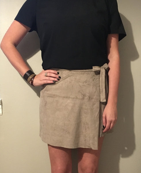 Tan Wrap Microsuede Skirt