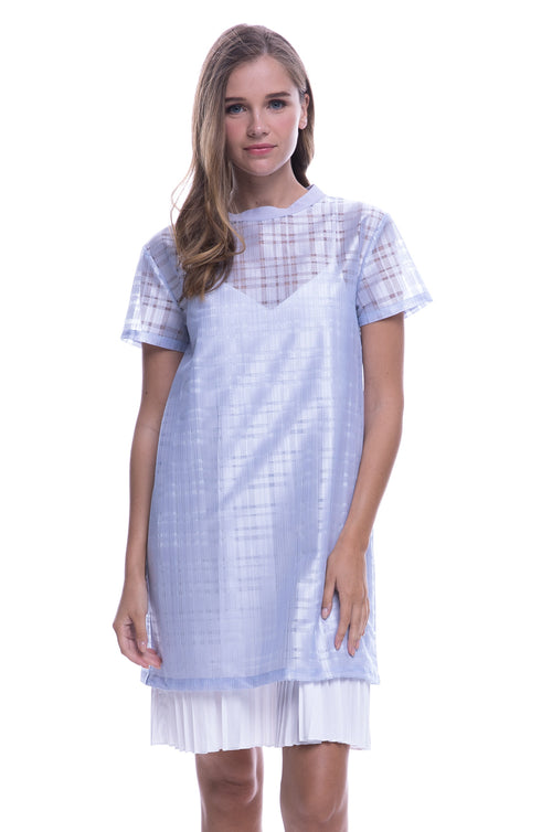 Combo Dress With Pleated Slip In Periwinkle