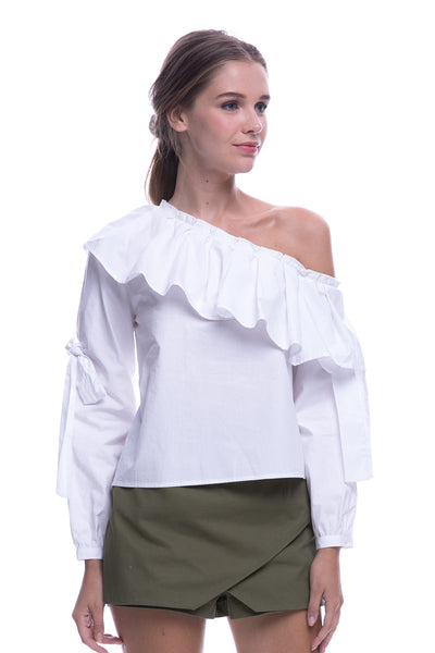Long Sleeve Asymmetrical Off Shoulder Top In White