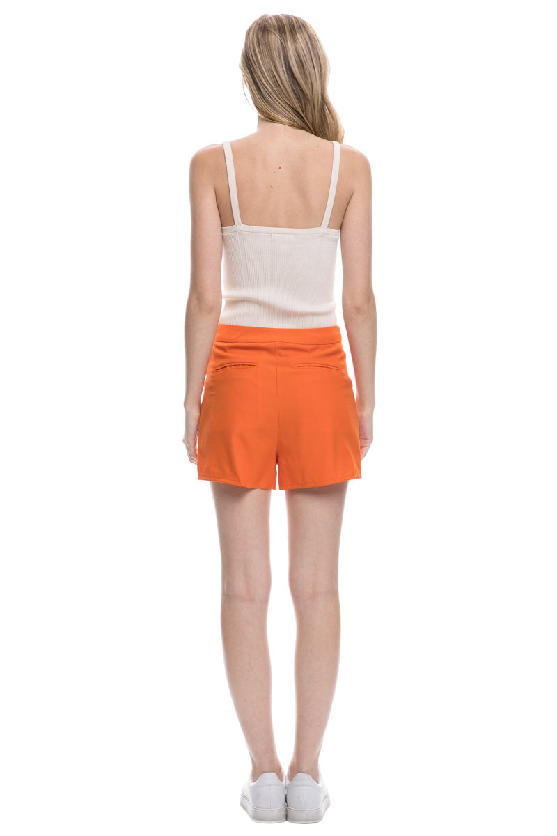 Orange Shorts With Button Closure