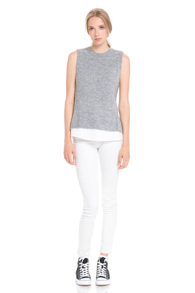 Sleeveless Grey Knit & White Poplin Underlay