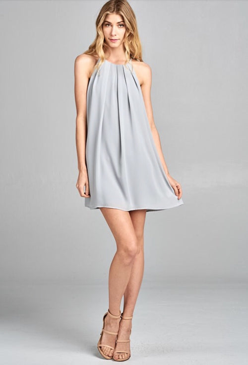 Pleated Front Dress in Solid Grey