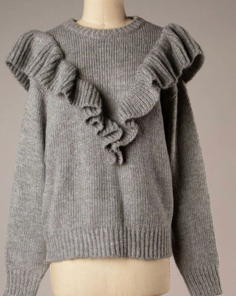 Heather Gray Ruffle Trim Knit Sweater