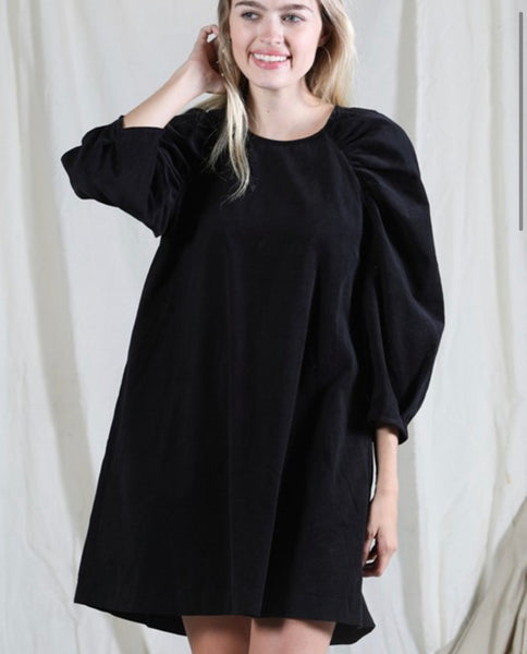 Puff Sleeve Dress in Black *only*