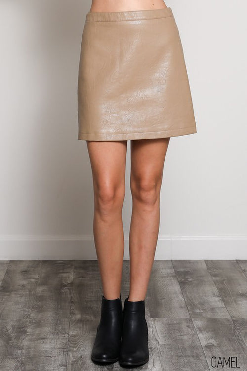 Vegan Faux Leather Skirt with Back Zipper in Camel