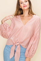 Dusty Peach Balloon Sleeve Tie Front Top