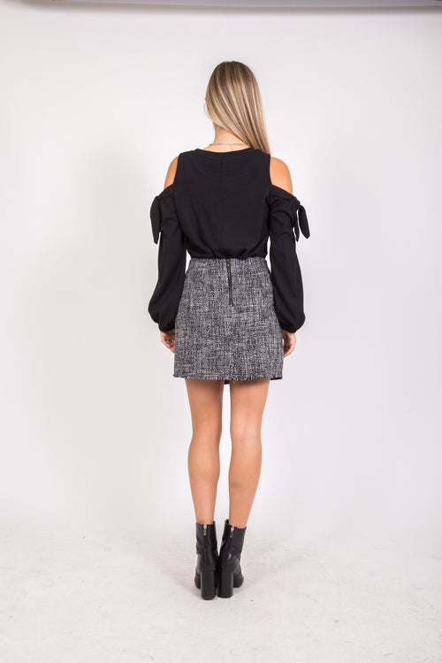 Tweed Fold Over Skirt In Grey and White
