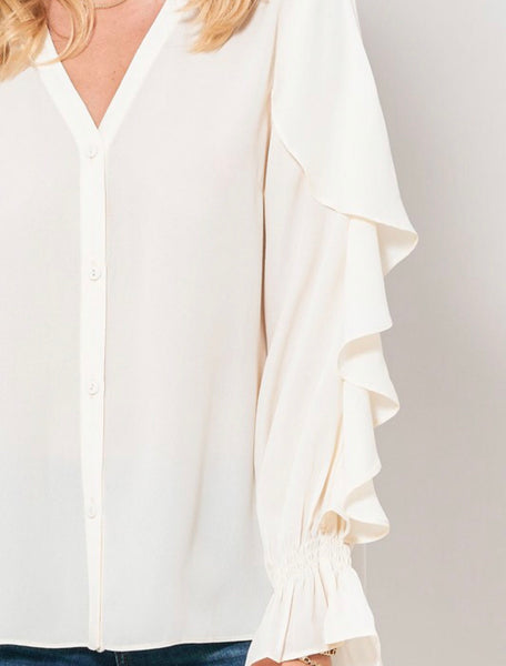 Cream Ruffle Sleeve Button Down