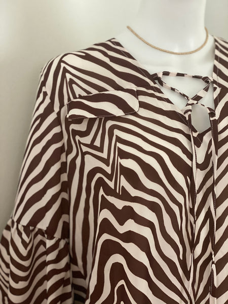 Animal Print Stripe Blouse with Puff Sleeve