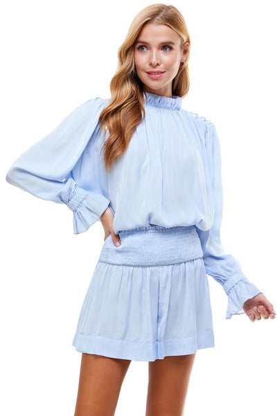 Baby Blue Ruffled Neck Top