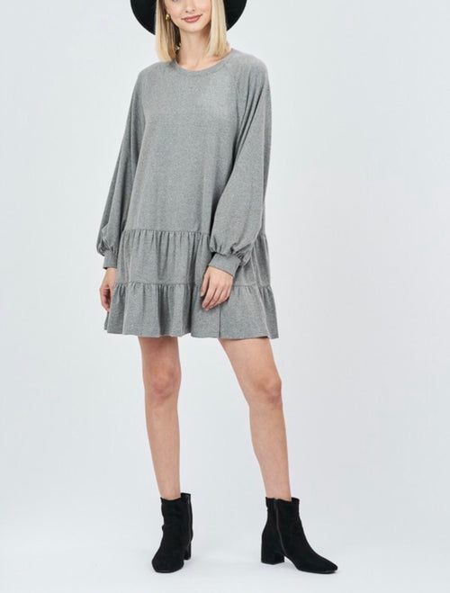 Gray Peplum Hemline Balloon Sleeve Dress
