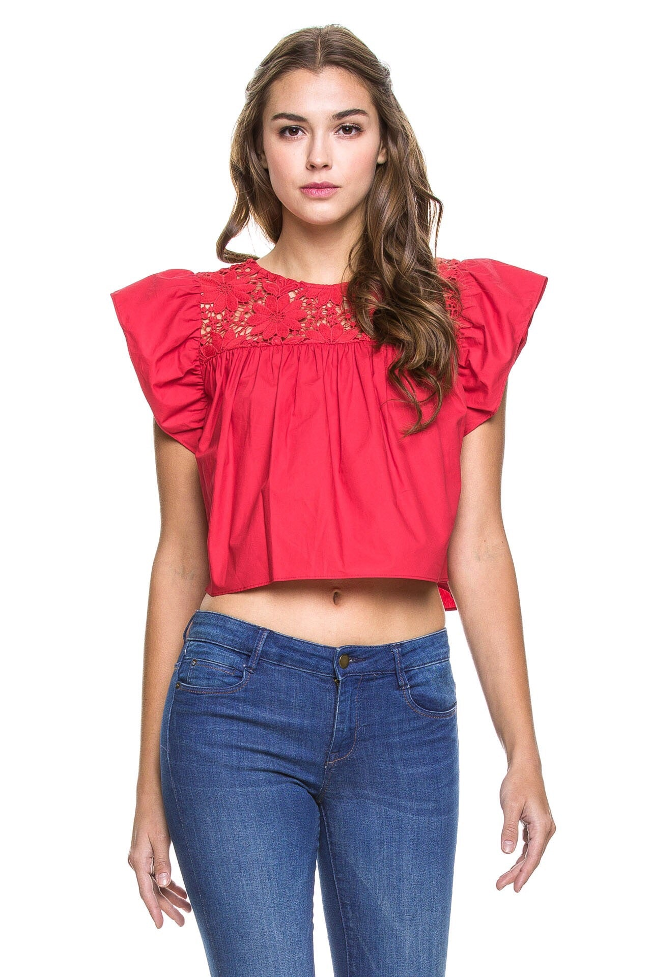 Detailed Lace Top in Ruby Red