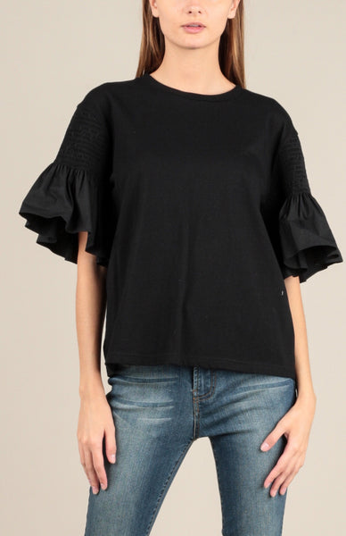 T-Shirt With Smocked Ruffle Sleeve