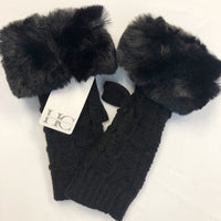 Black Fur Accent Fingerless Gloves