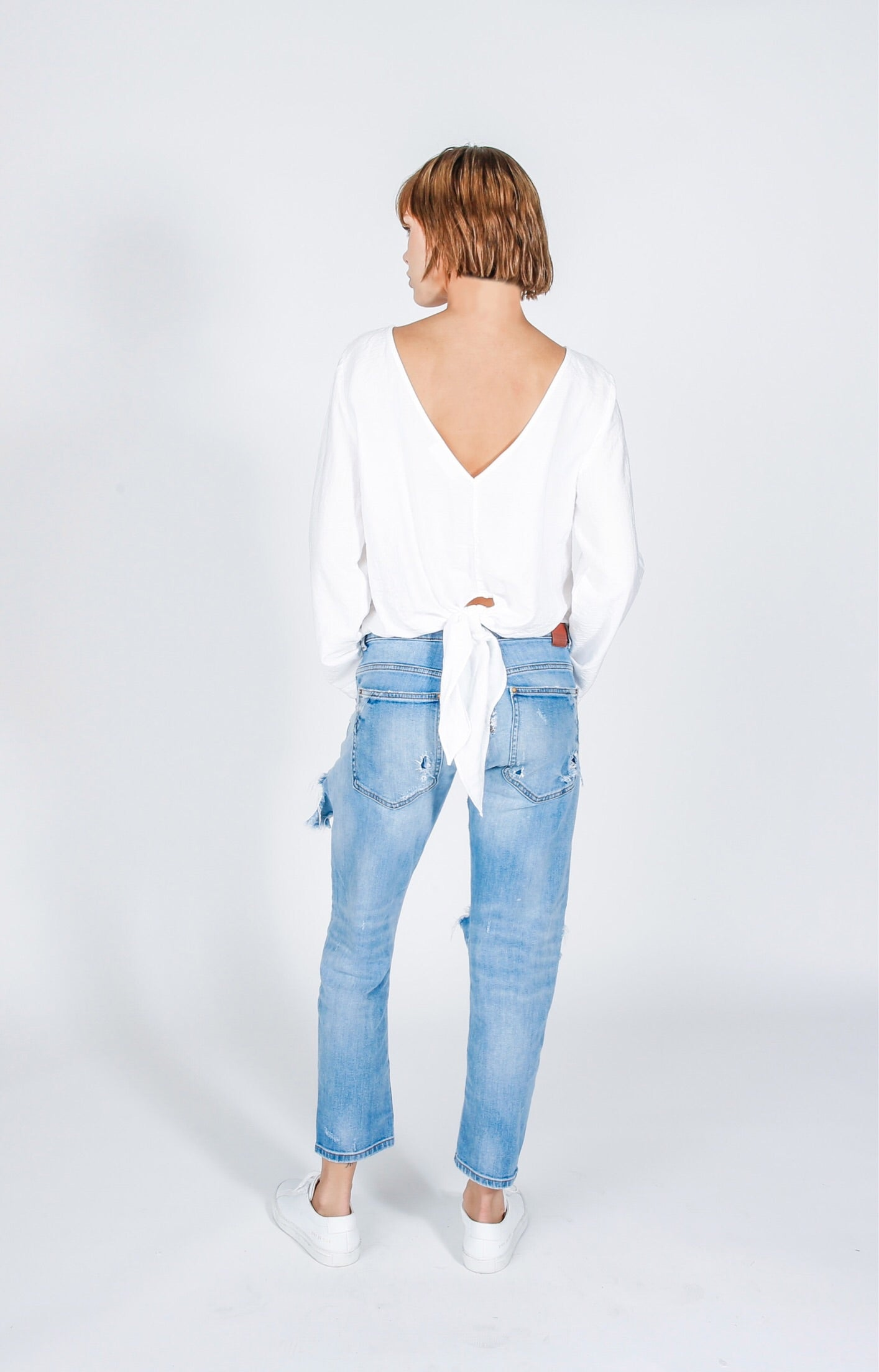 Long Sleeve Tie Back Top in White Glow