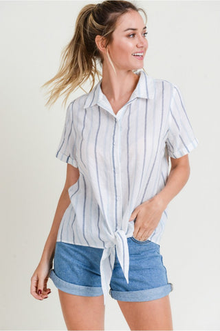 Crochet Trim Striped Blouse