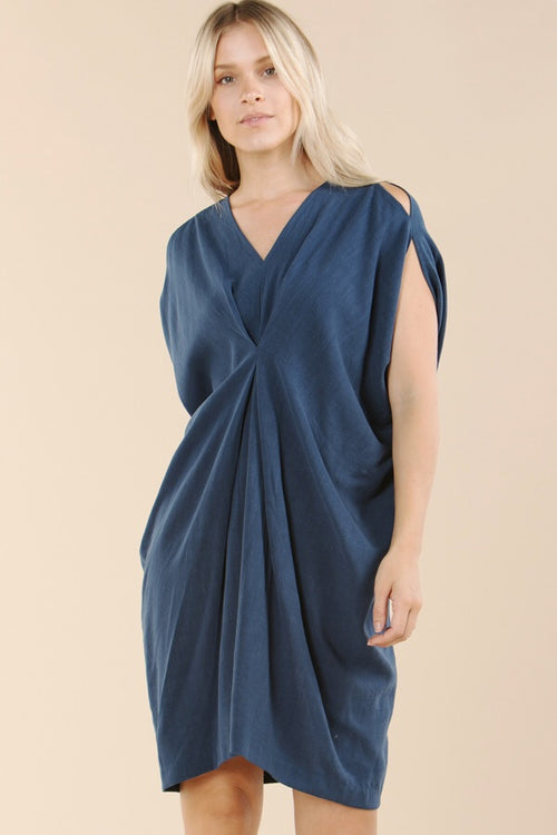 Linen Dress With Front Cinch