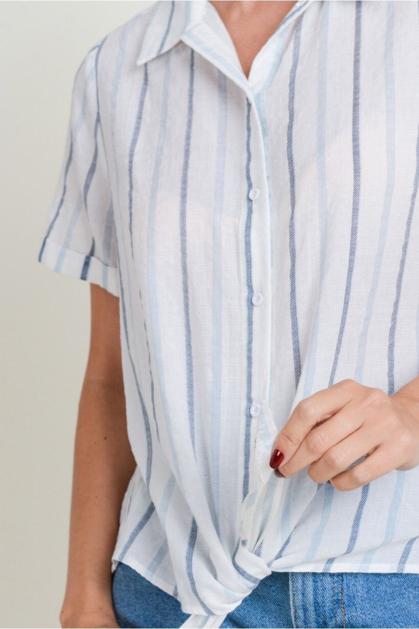 Blue Stripe Button Down Short Sleeve Top
